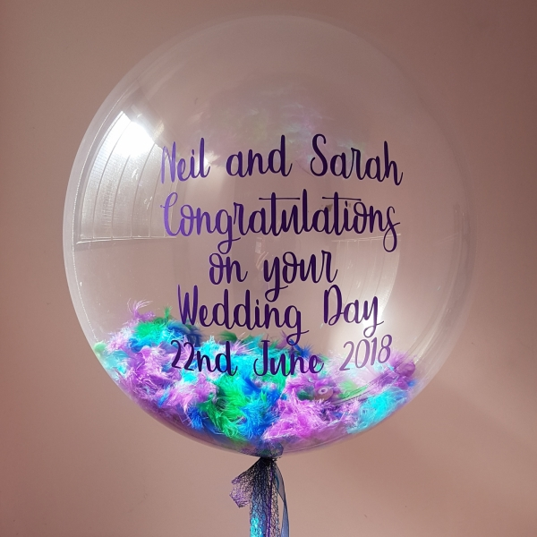 Peacock feather deco bubble balloon personalised