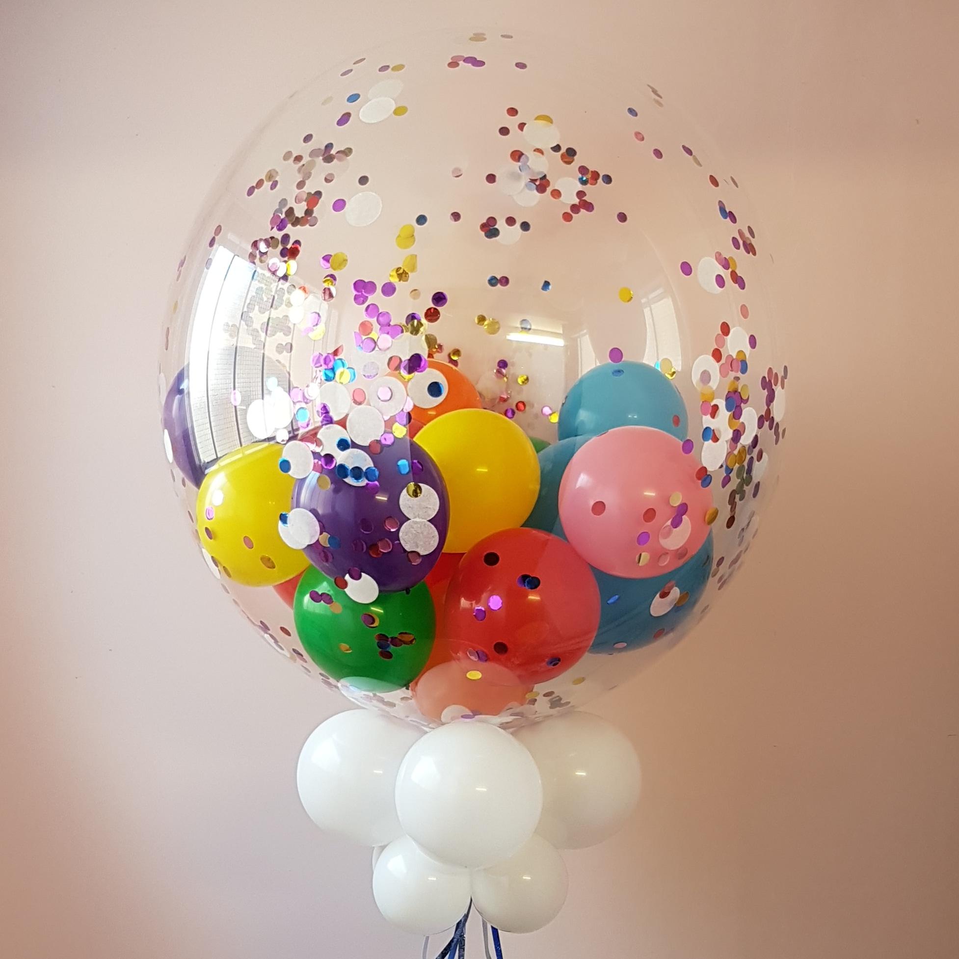 Rainbow Confetti Gumball deco bubble balloon