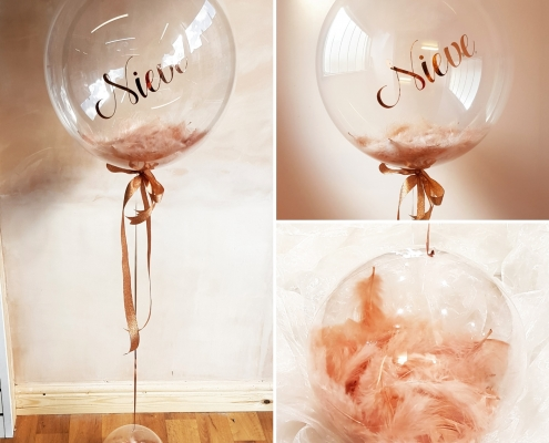 Rose Gold Feather deco bubble balloon and feather aqua weight personalised