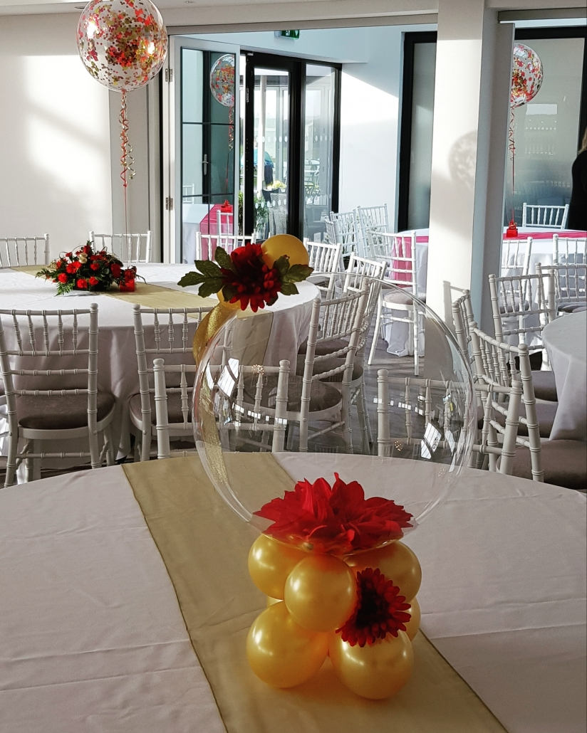 Indian wedding aqua balloon red and gold flower