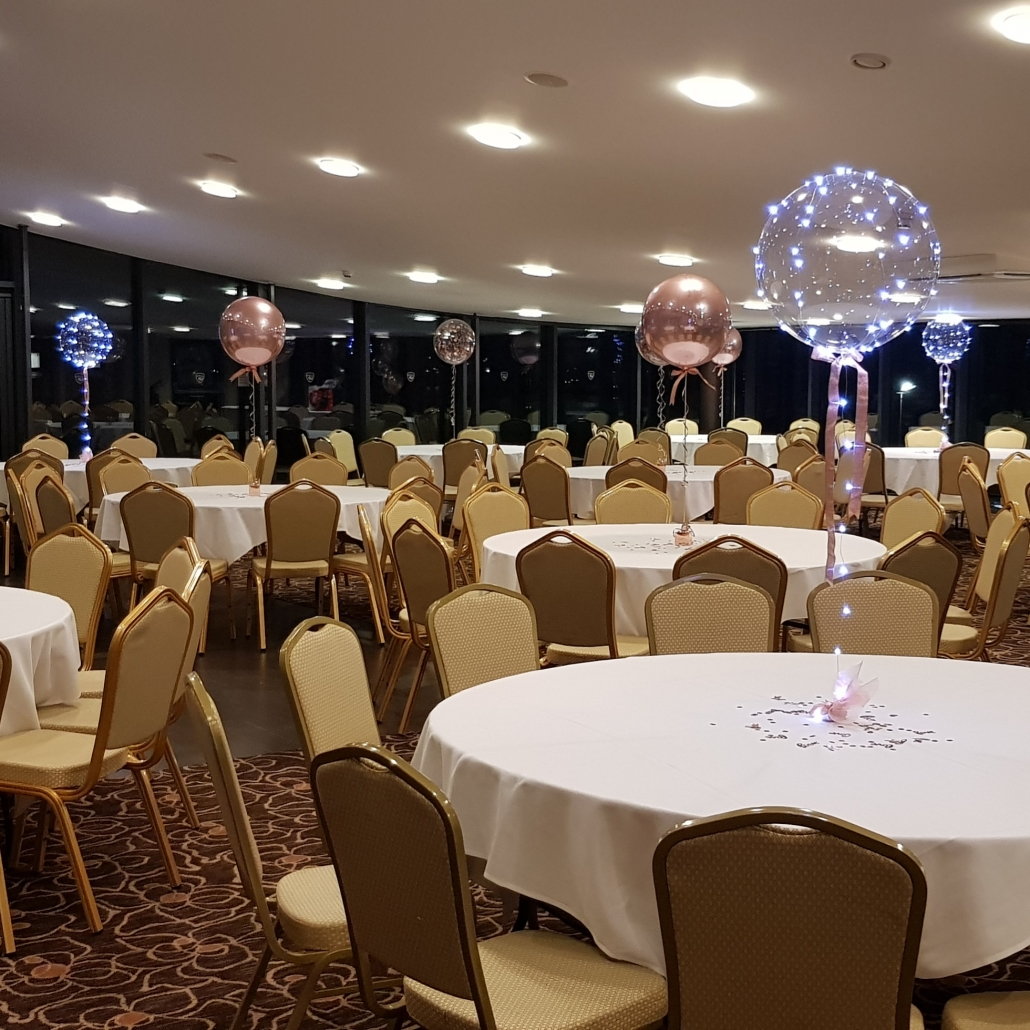 LED light up aqua bubble balloon, confetti and rose gold orbz balloons